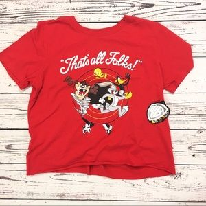 Looney tunes that's all folks crop t shirt NWT